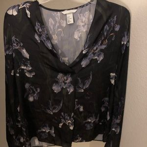 H&M Blue-toned Floral Blouse Size 4 (Like New)